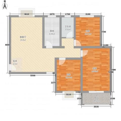 金都花园3室1厅1卫1厨124.00㎡户型图