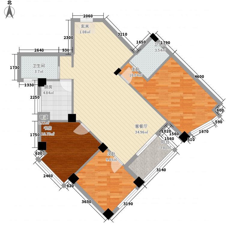 雅戈尔东湖馨园123.72㎡户型3室2厅2卫