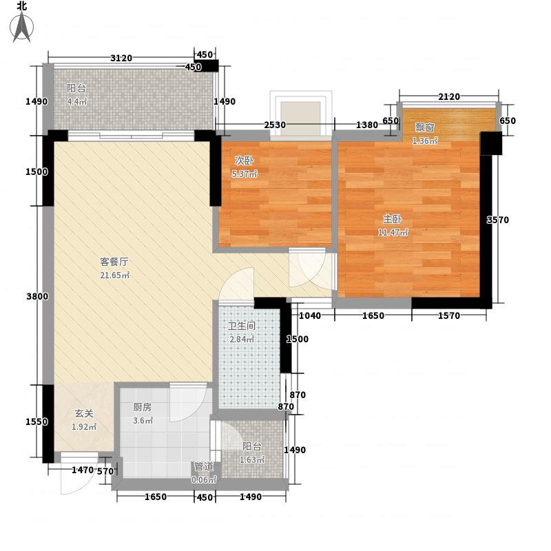 金瑞彩虹湾7.30㎡3栋02/03单元D户型2室2厅1卫1厨