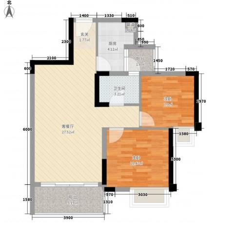 福湾新城春风苑一区2室1厅1卫1厨75.00㎡户型图