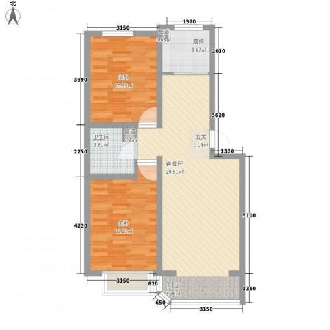 锦绣嘉苑2室1厅1卫1厨87.00㎡户型图