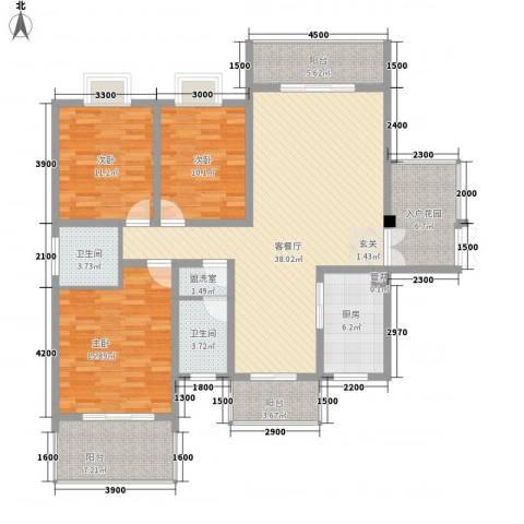 学府华庭3室2厅2卫1厨163.00㎡户型图