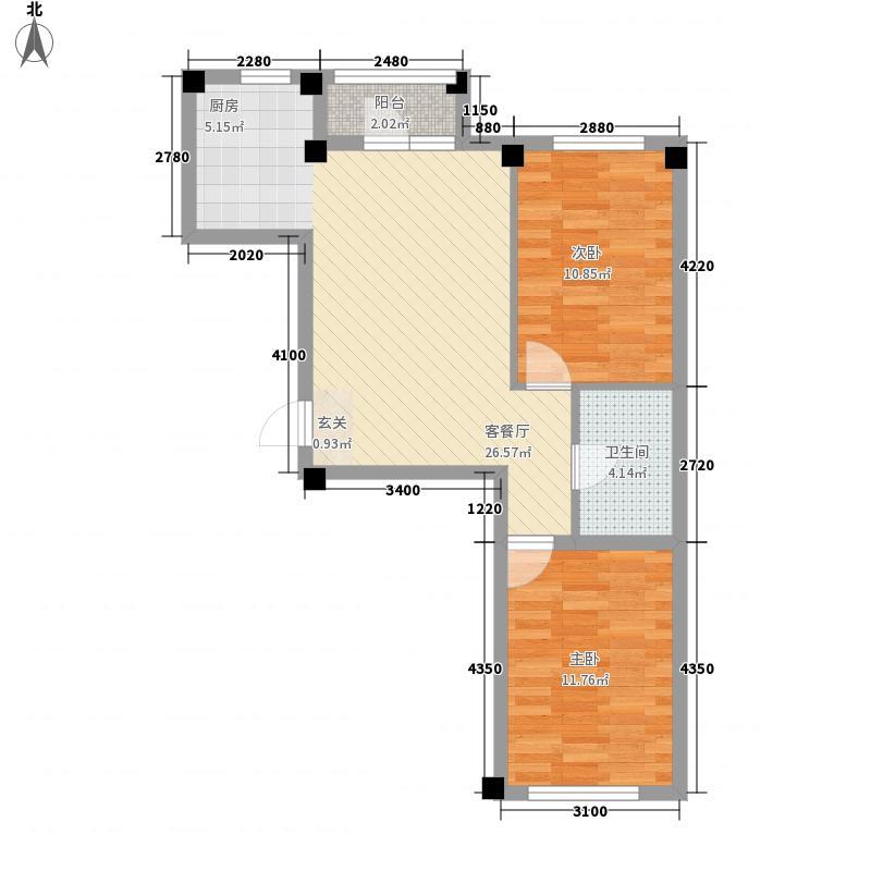 翰林苑2室1厅1卫0厨81.00㎡户型图