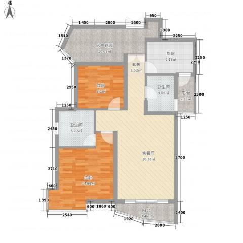 盛世8号2室1厅2卫1厨101.00㎡户型图