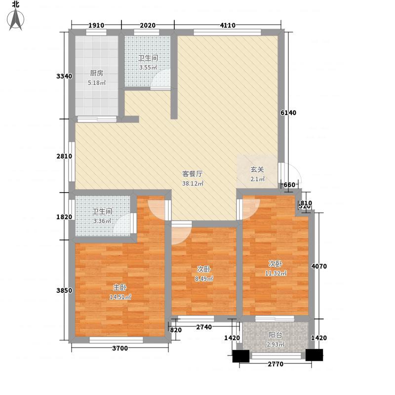常青藤国际花园3室1厅2卫1厨126.00㎡户型图