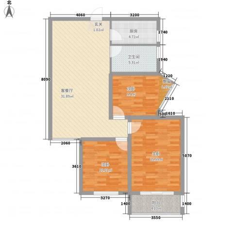 金都花园3室1厅1卫1厨115.00㎡户型图