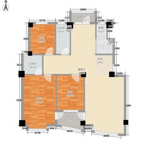 鼎新鼎润府3室1厅2卫1厨136.00㎡户型图