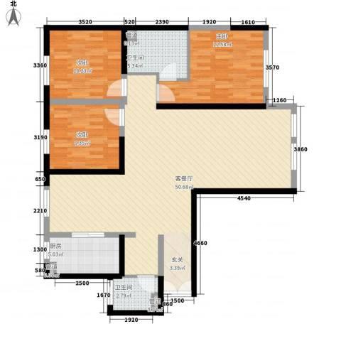 巨华世纪城二期和谐园3室1厅2卫1厨139.00㎡户型图