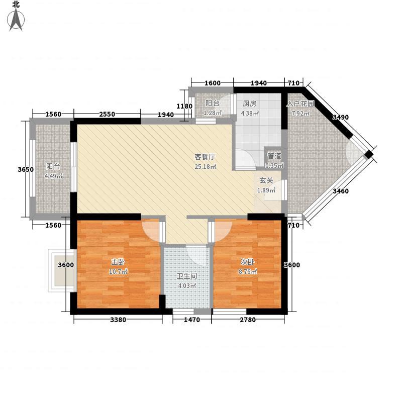 中建・华府首期F6栋4号楼两室两厅一卫+双阳台户型10室
