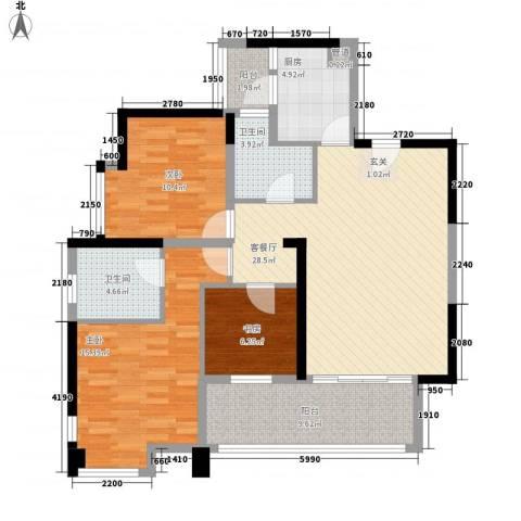 碧湖嘉园3室1厅2卫1厨124.00㎡户型图