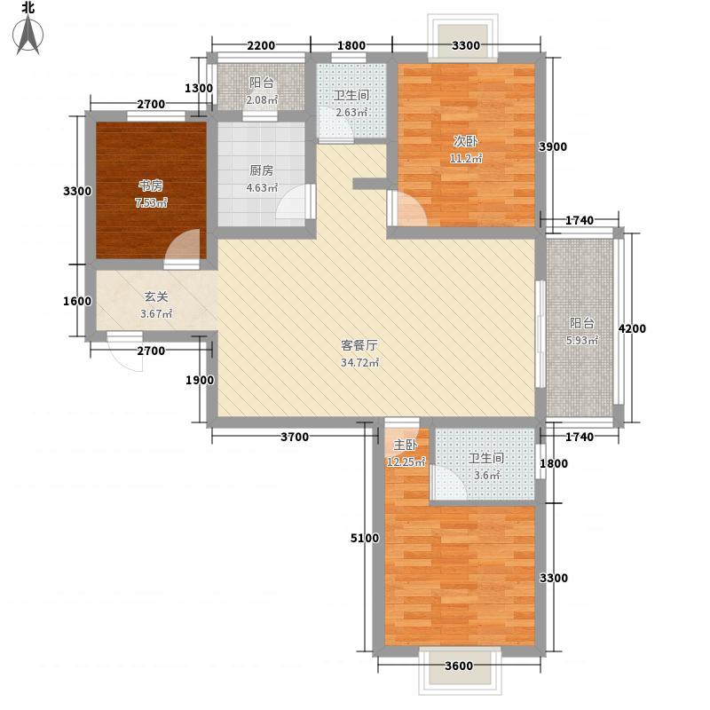 凯旋新城嘉苑12.30㎡D2户型3室2厅2卫1厨