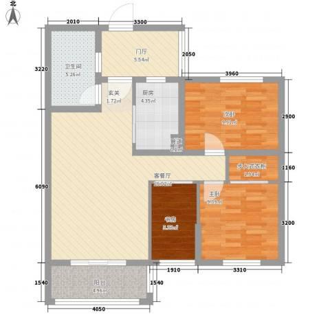 易居公馆3室1厅1卫1厨105.00㎡户型图