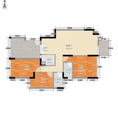 警备区龙华公寓3室1厅2卫1厨106.39㎡户型图