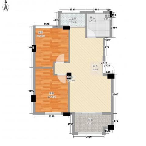 观海澜庭2室1厅1卫1厨88.00㎡户型图