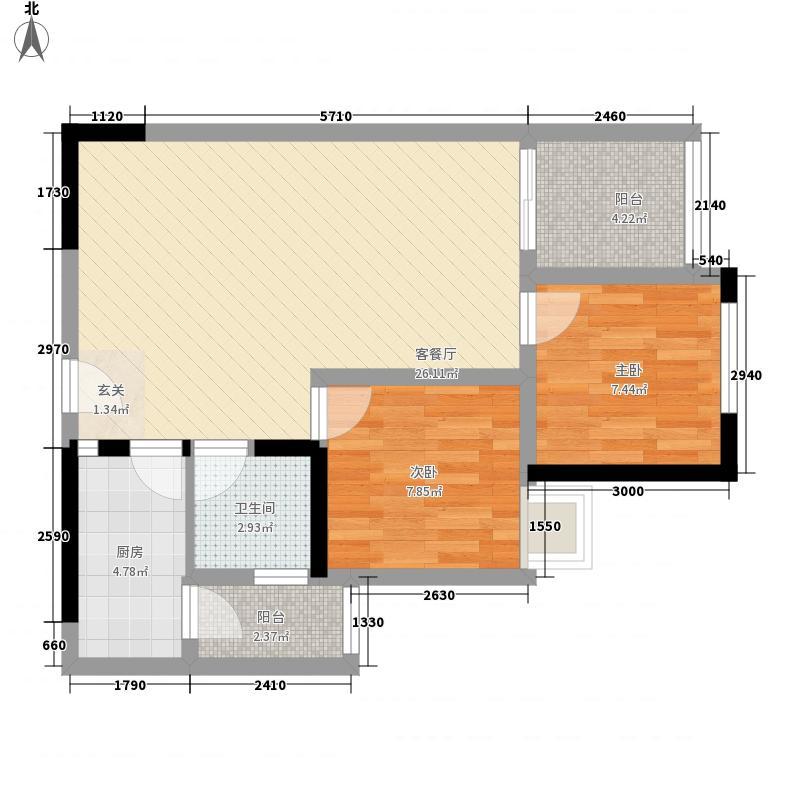 东卉花园15户型2室2厅1卫1厨