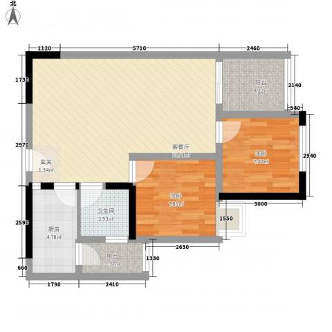 东卉花园2室1厅1卫1厨81.00㎡户型图