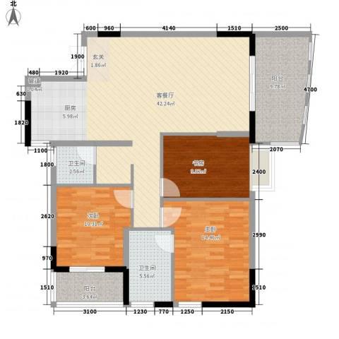警备区龙华公寓3室1厅2卫0厨113.00㎡户型图