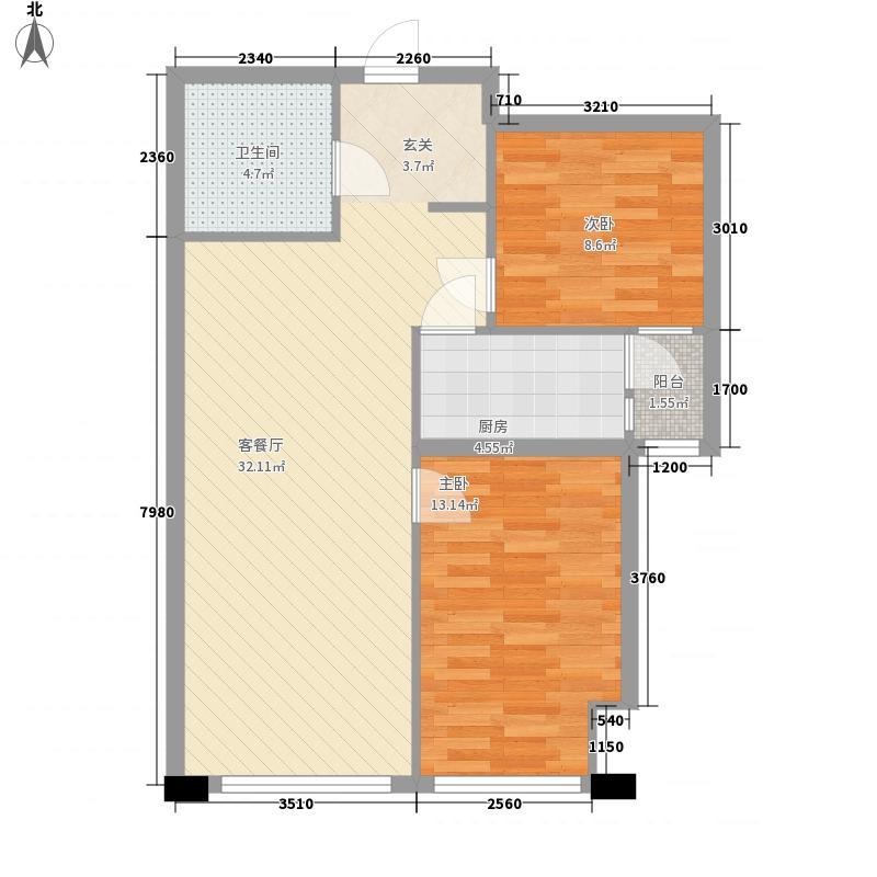 浦东雅典C2户型2室2厅1卫1厨