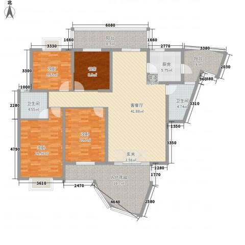 旭日海湾三期4室1厅2卫1厨195.00㎡户型图