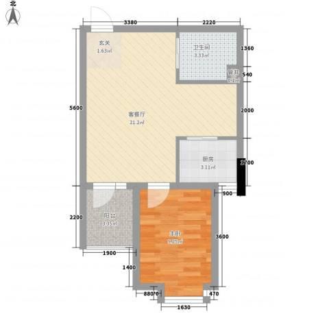 丹田1室1厅1卫1厨53.00㎡户型图