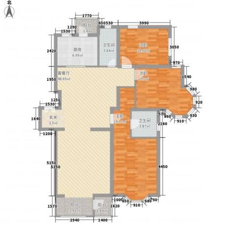 大宁山庄3室1厅2卫1厨121.00㎡户型图
