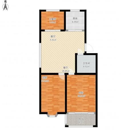 山海顺沁苑3室1厅1卫1厨133.00㎡户型图