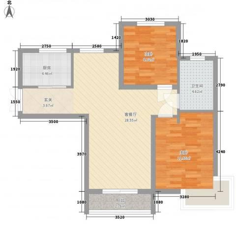 名门华都2室1厅1卫1厨88.00㎡户型图