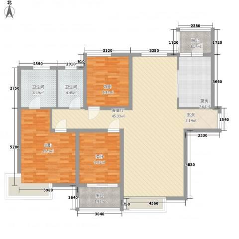 名门华都3室1厅2卫1厨151.00㎡户型图