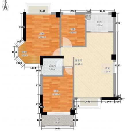 上城国际3室1厅1卫1厨92.00㎡户型图