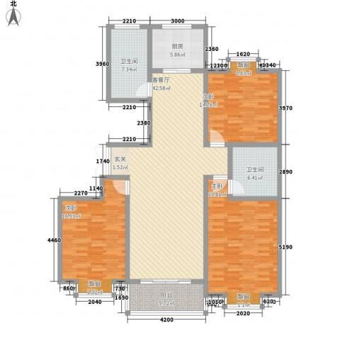 都市豪庭3室1厅2卫1厨135.00㎡户型图