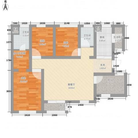 万科金域曲江3室1厅2卫1厨76.00㎡户型图