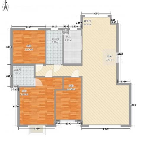 兰溪文苑3室1厅2卫1厨148.00㎡户型图