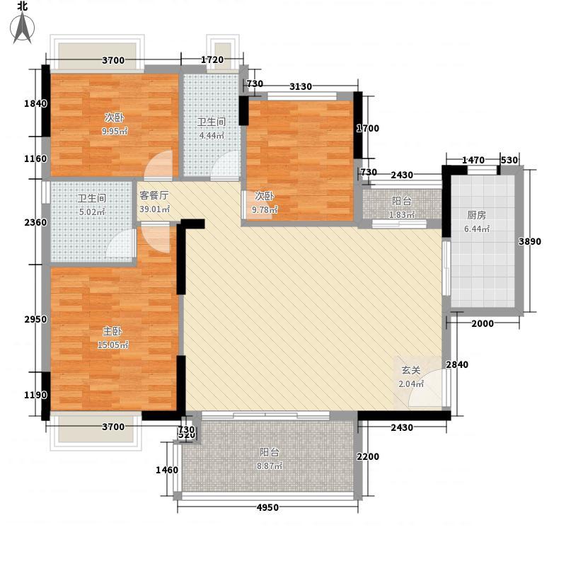 益丞・帝豪居125.23㎡6幢、9幢01单元户型3室2厅2卫1厨