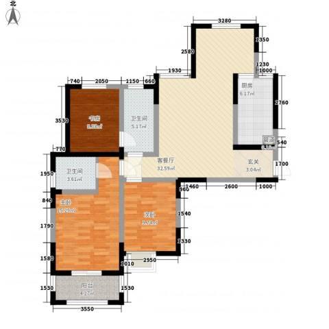 雍翠园3室1厅2卫1厨124.00㎡户型图