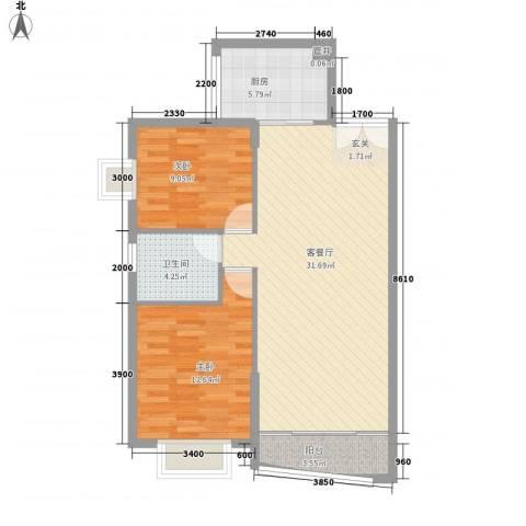 百灵小区2室1厅1卫1厨93.00㎡户型图