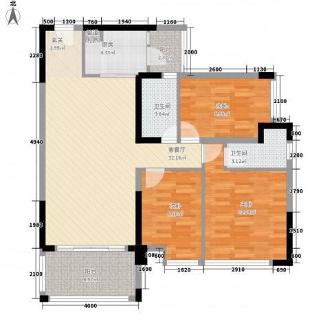 新怡・美丽家园3室1厅2卫1厨120.00㎡户型图