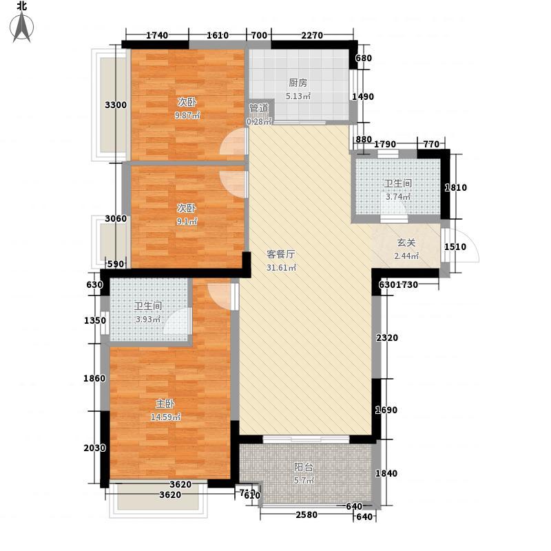 天汇龙城114.00㎡1、4、7、10号楼C1户型3室2厅2卫1厨