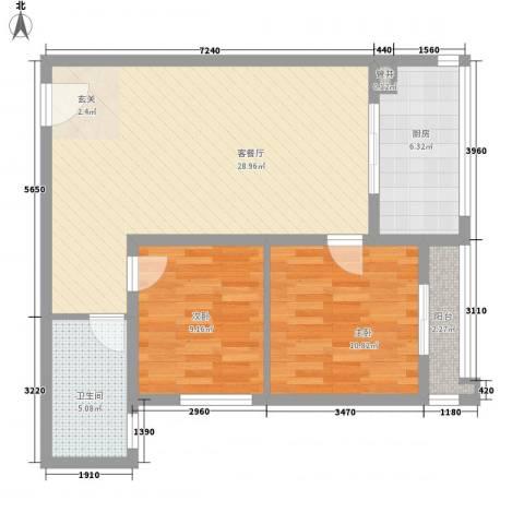 大洋时代国际2室1厅1卫1厨90.00㎡户型图