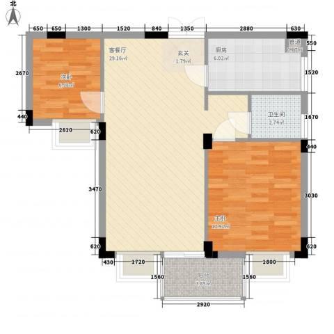 皓月花园2室1厅1卫1厨73.00㎡户型图