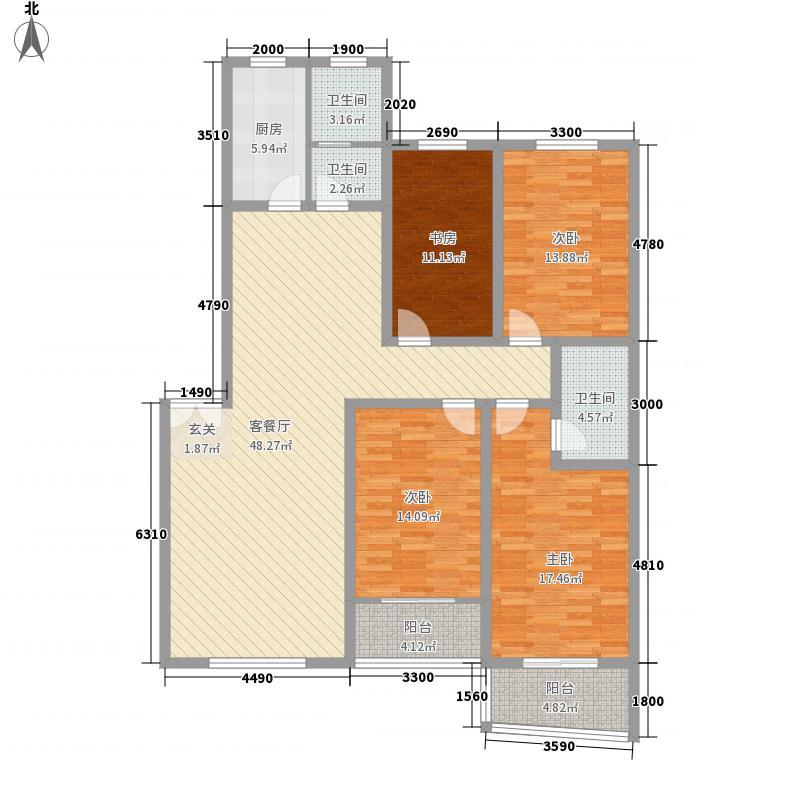 好来花园2号楼2户型3室2厅2卫1厨