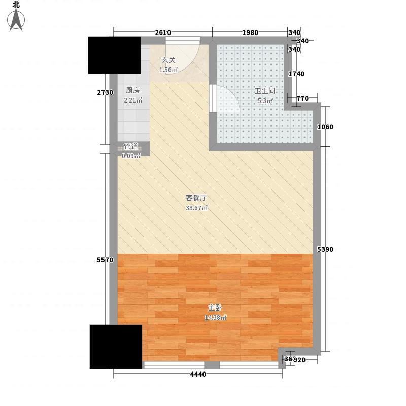 半岛国际55.26㎡公寓A#S3户型1室1厅1卫