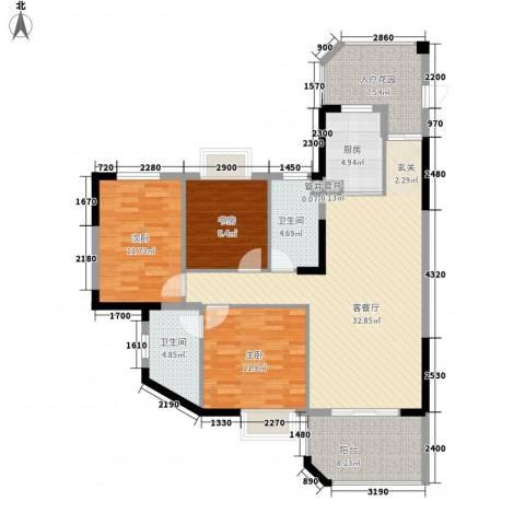 中陆小区3室1厅2卫1厨134.00㎡户型图