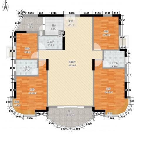 景亿凤凰谷4室1厅3卫1厨127.48㎡户型图
