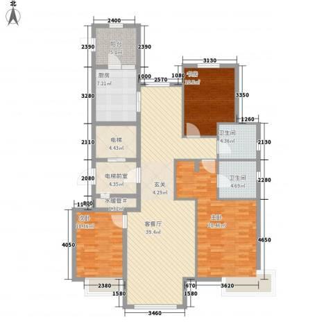 万锦香颂3室1厅2卫1厨160.00㎡户型图