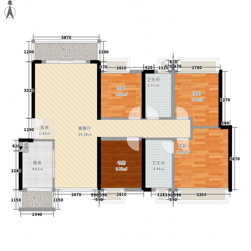 金沙半岛112.00㎡4栋02户型4室2厅2卫1厨