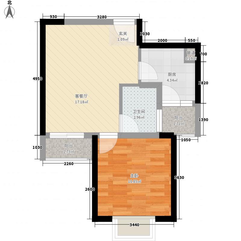上品新天地57.00㎡4号楼A3户型1室2厅1卫1厨