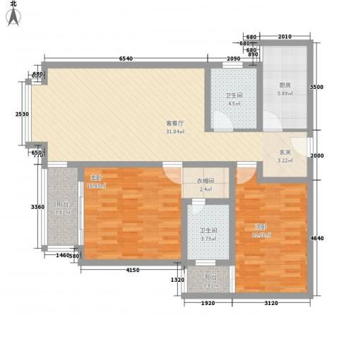 宝安江南城2室1厅2卫1厨109.00㎡户型图