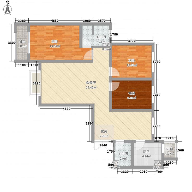 盛世桃城3室1厅2卫1厨134.00㎡户型图