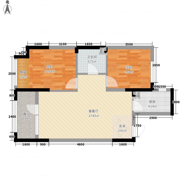 宏发・石榴2室1厅1卫1厨89.00㎡户型图