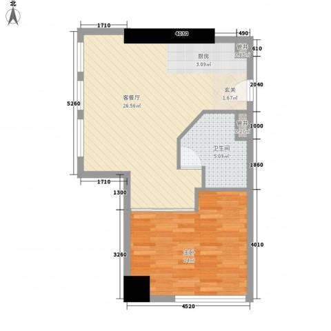 优族联盟1室1厅1卫0厨65.00㎡户型图